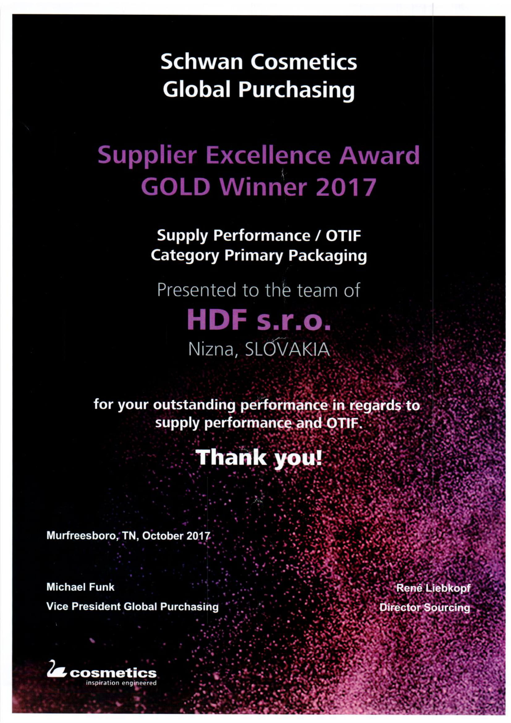 SSC Supply performance Gold winner 2017-1