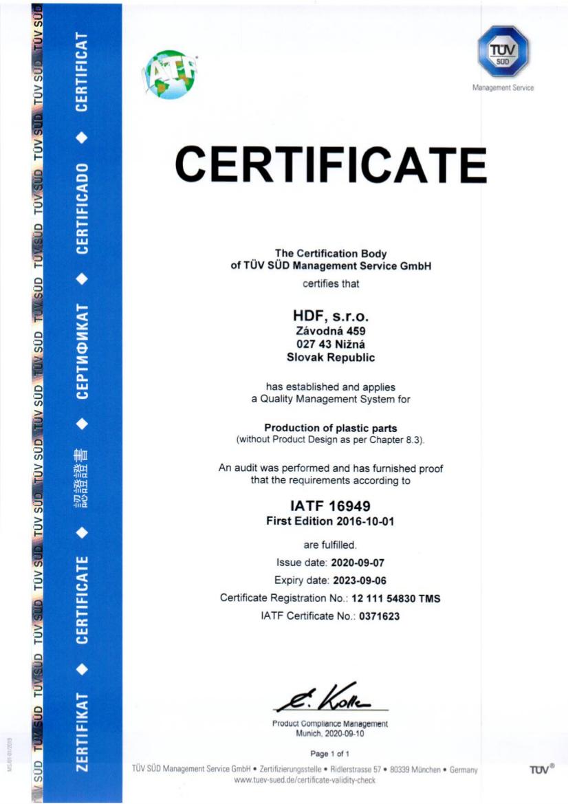 HDF IATF 16949, 6.9.2023, 0371623 EN